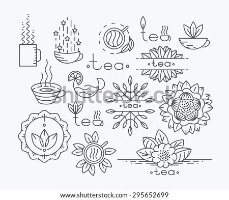 Tea mono line elements for menu, package, design. Vector contour flat logo, emblems. Herbal and floral decorations.
