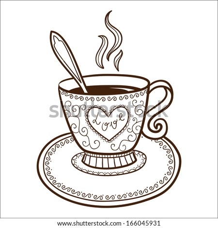 tea or coffee cup with heart shaped steam sketch vector element for romantic design