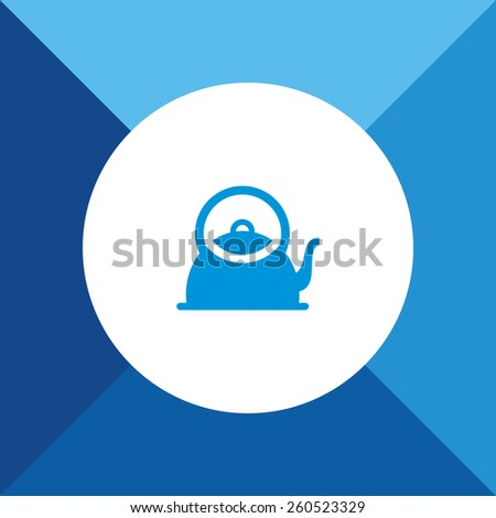 Tea or Coffee Pot Icon on Blue Background. Eps-10. - stock vector
