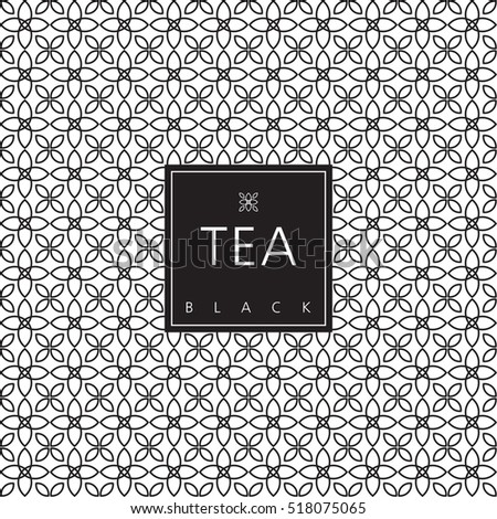 Tea packaging. Template design element. Swatch seamless pattern included.