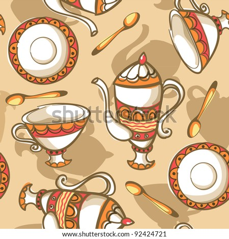 Tea party background - stock vector