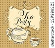 Tea party card - stock vector