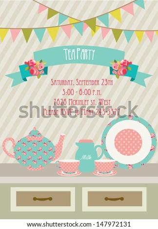 Tea Party card - stock vector