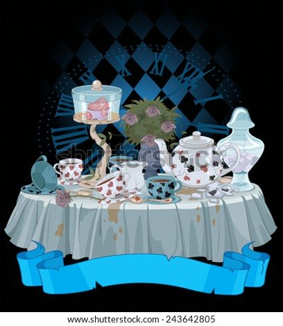Tea Party decorated table - stock vector