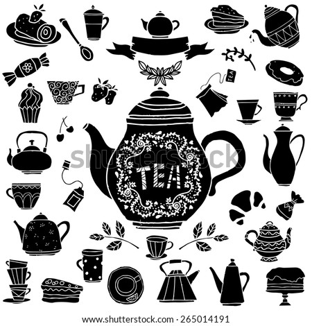 Tea party hand drawn icons black silhouettes set. Cups, mugs, teacups, teapots, saucer, spoon,  leafs, fruits cherry, strawberry,  cakes, croissant, pie, candy isolated on white background - stock vector