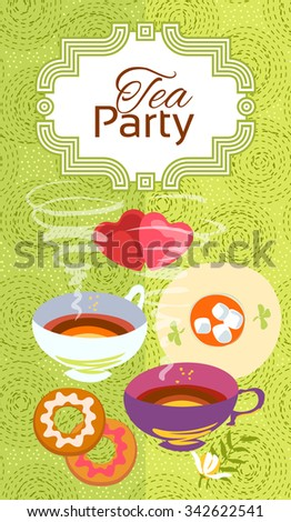 Tea party invitation card. Frame over pattern background, colorful illustration. - stock vector