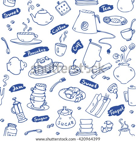 Tea party kitchen tools seamless pattern  sketch blue color