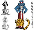 Tea Party Rattlesnake Uncle Sam - stock vector