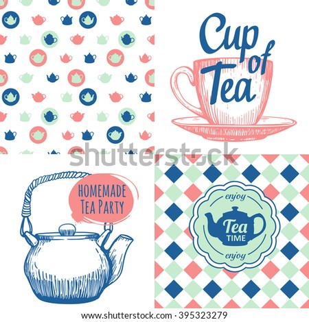 Tea party set with seamless background and sketch. Hot drinks menu. Vector Illustration with cups, teapots and pattern. Decorative elements for your packing design. Multicolor decor. - stock vector