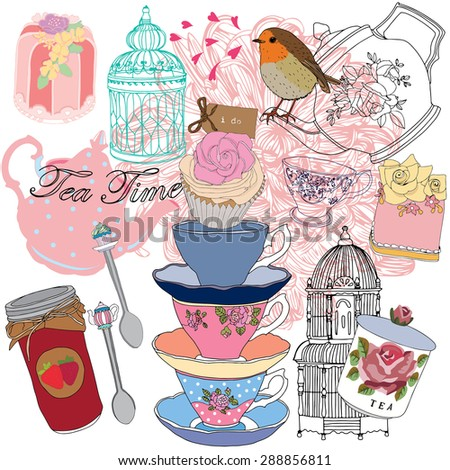 Tea party with birdcage - stock vector