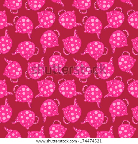 Tea, polka dot. Abstract vector seamless background. Pattern for wrapping paper. Kitchen background. - stock vector
