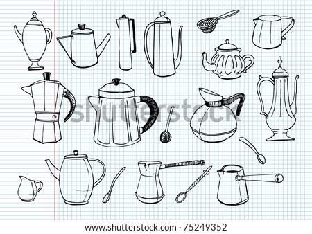 tea pot and coffee pot doodles. vector - stock vector