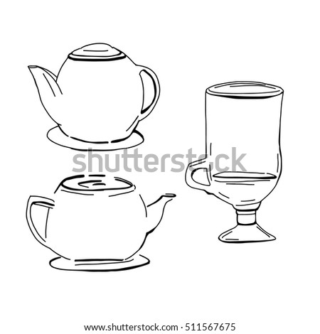 Tea pot silhouette.Cup silhouette for your designs: