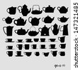 Tea pots and tea cups vector - stock photo