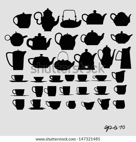 Tea pots and tea cups vector - stock vector