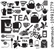 Tea related silhouette symbols - stock vector