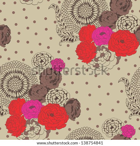 Tea Roses Seamless Pattern in Vintage Style(Copy that square to the side and you'll get seamlessly tiling pattern which gives the resulting image ability to be repeated or tiled without visible seams) - stock vector