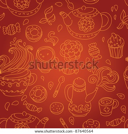 tea seamless pattern - vector illustration - stock vector
