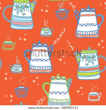 Tea seamless pattern with cups and pots funny design - stock vector