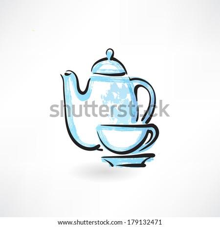 tea service grunge icon - stock vector