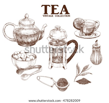 Tea set. Hand drawn collection in vintage style. Vector illustration.