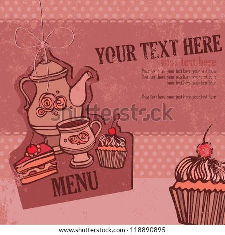 tea set, menu - stock vector
