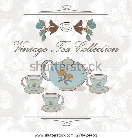 Tea set on the seamless pattern in vintage style. Tea collection. - stock vector