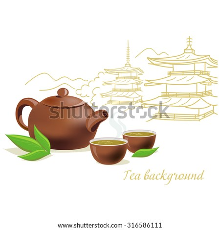 Tea Teapot And Cups With Japanese Architecture Vector Illustration