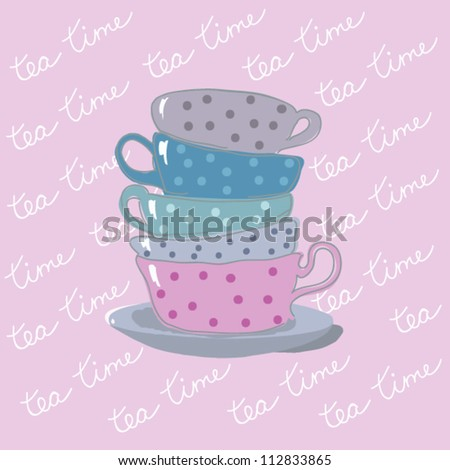 tea time background with teacups - stock vector