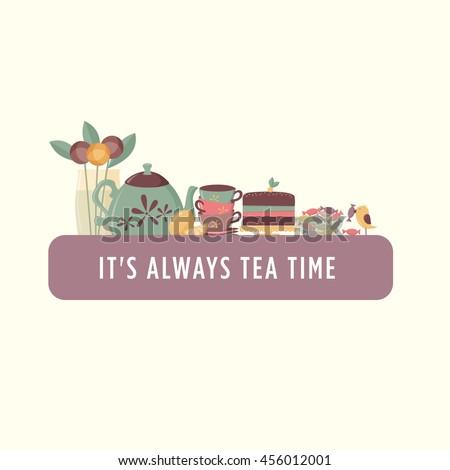 Tea time banner - stock vector