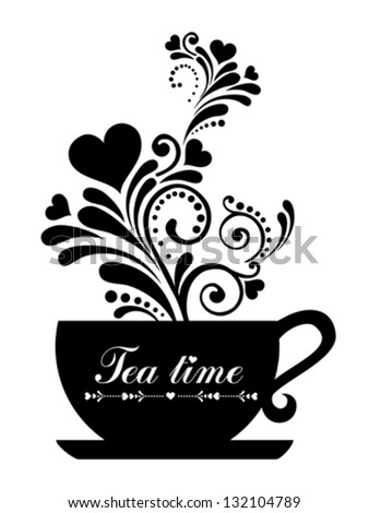 Tea time. Cup with floral design elements  isolated on White background. Vector illustration - stock vector