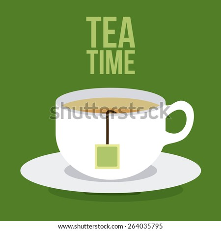Tea time design over green background, vector illustration - stock vector