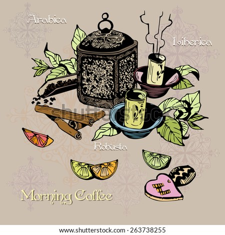 Tea time elements illustration design for wallpaper and decoration.