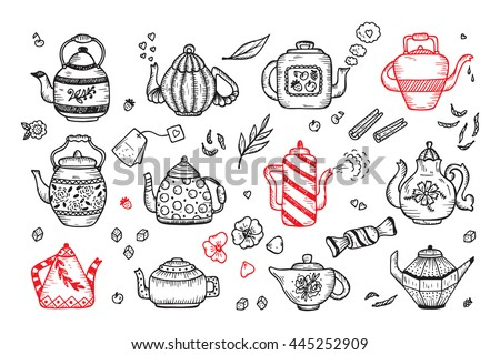 Tea Time. Hand Drawn Doodle Different Teapots and additives for tea Vector Set   - stock vector