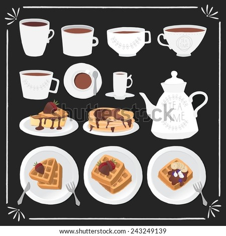 Tea time icon set. - stock vector