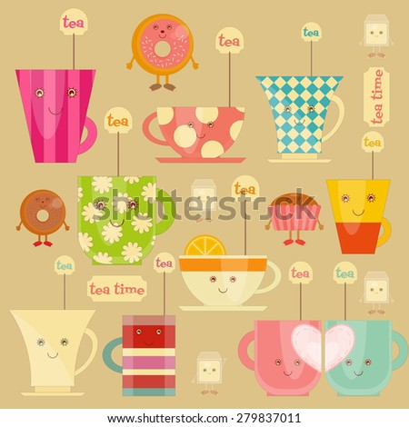 Tea Time Icons Set. Collection of Colorful Tea Cups. Vector Illustration. - stock vector