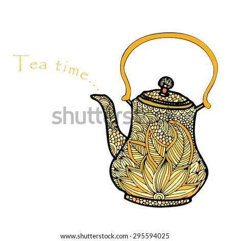 Tea time illustration with floral decorated tea pot - stock vector