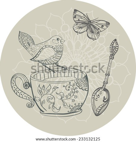 Tea time illustration with flowers and bird, beautiful background for your design - stock vector
