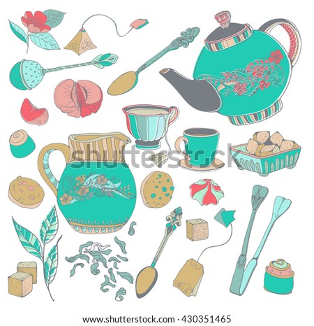 Tea time illustration with flowers, beautiful background for your design, Doodle collection of details, Vector