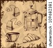 Tea time objects collection isolated on vintage background. Hand drawing sketch vector illustration - stock vector