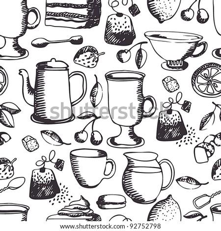 Tea time pattern - stock vector