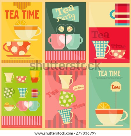 Tea Time Posters Set. Vector Illustration. - stock vector