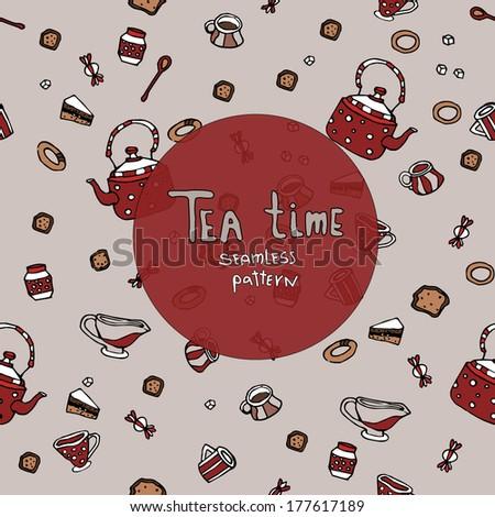 Tea time seamless  - stock vector