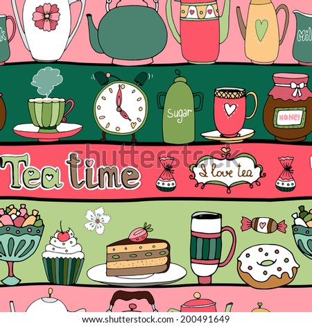 Tea time seamless background pattern with teapots  kettles  cakes  sweets  cups  candy  honey and an alarm clock arranged in alternating pink and green rows in square format for wallpaper and fabric - stock vector