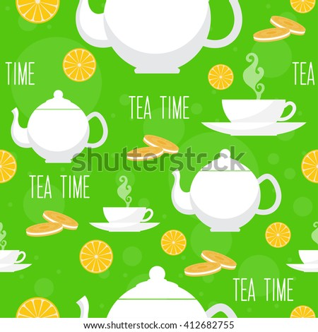 tea time seamless pattern teapot cup cartoon isolated coffee theme wallpaper decoration drink