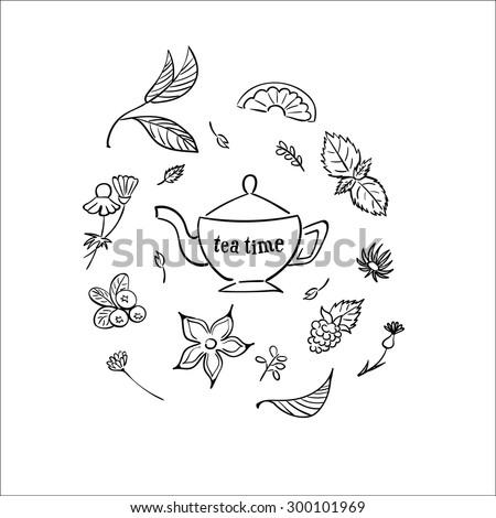 Tea time set.  - stock vector