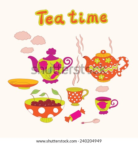 Tea time set. Teapots, cups, saucer, spoon, bowl with cherries and candy. - stock vector