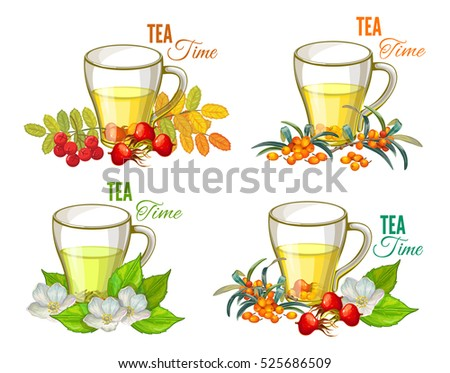 Tea Time Set. Vector illustration with a Cups and Berries