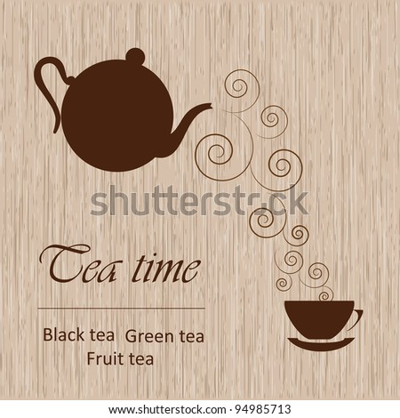 Tea time template - stock vector