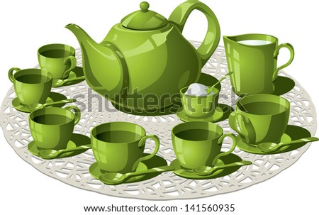 Tea Time - Vector illustration of a complete tea set. Teapot, six teacups and teaspoons, all arranged on a circular custom weave. Sugar and milk to taste.   - stock vector